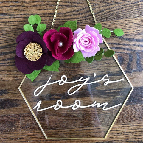 Gift for Young Girl, Girl Room Decoration, Baby Name Sign, Glass Hexagon Sign, Baby Shower Gift, Custom Name Sign, Nursery Decor, Nursery