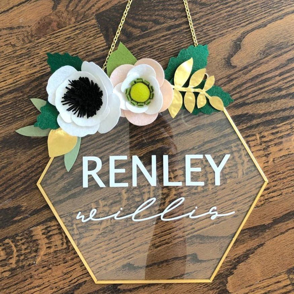 Glass Hexagon Nursery Sign