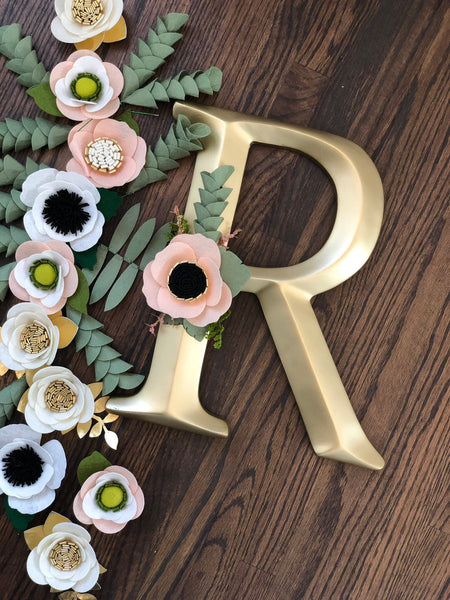 Gold Nursery Letter - Pink + Black Anemone