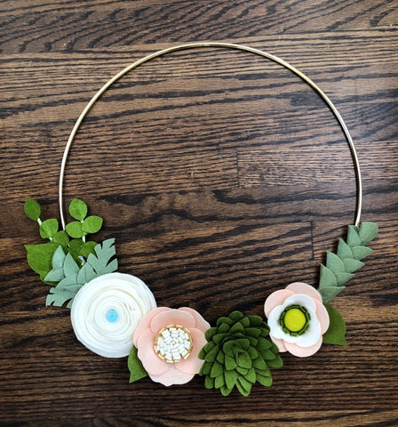 Felt Flower Wreath, Succulent Wreath, Gold Wreath with Flowers, Gold Hoop Wreath, Nursery Wreath, Front Door Wreath, Housewarming Gift