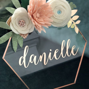Glass Hexagon Sign with Rose Gold Lettering
