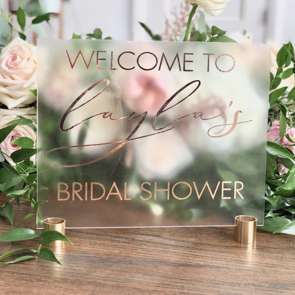 Clear Wedding Sign, Acrylic Wedding Sign, Acrylic Welcome Sign, Bridal Shower Sign, Rose Gold Sign, Baby Shower Sign, Bridal Shower Decor