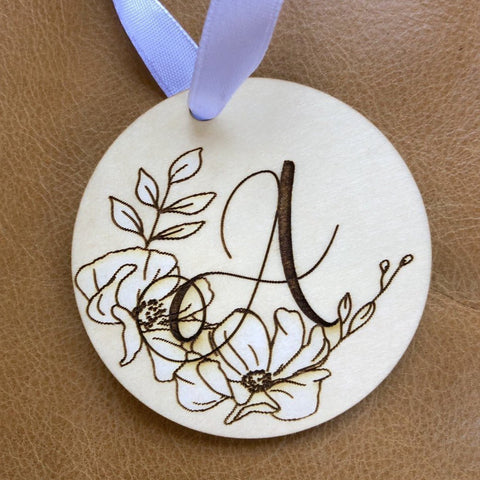 Monogram Ornament, Initial Ornament, Floral Monogram Ornament, Stocking Stuffer, Christmas Ornament, Personalized Ornament, 2019 Ornament