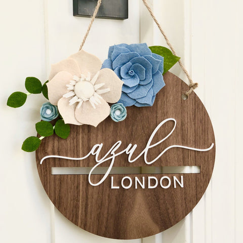 Name sign, wood baby sign, engraved sign for nursery, floral baby name sign, floral nursery decor, nursery sign, felt flowers, door hanger