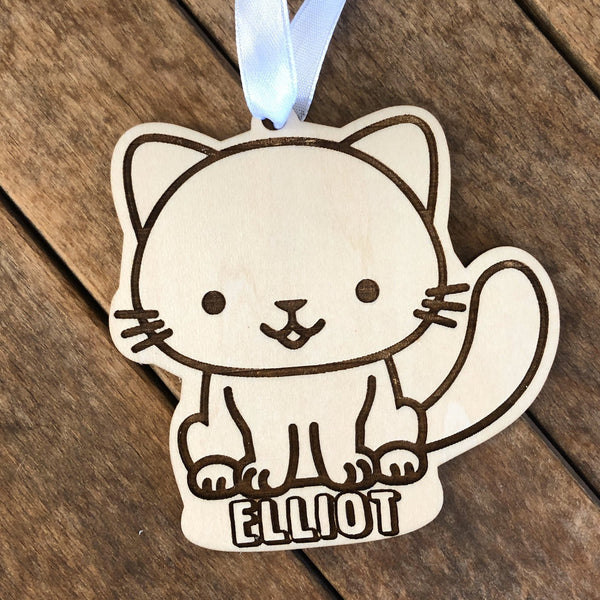 Personalized Wood Cat Ornament