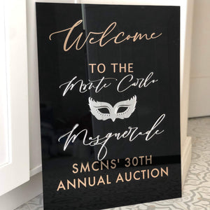 Custom Welcome Sign, Acrylic Personalized Welcome Wedding Sign, Custom Welcome Event Signage, Floating Backdrop Sign, Black Acrylic Sign