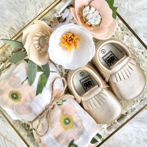 Gold + Floral Baby Gift Set