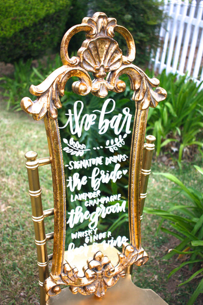 Wedding mirror menu / handlettered mirror / dessert menu / wedding sign / gold mirror / chalkboard sign / vintage mirror / gold ornate