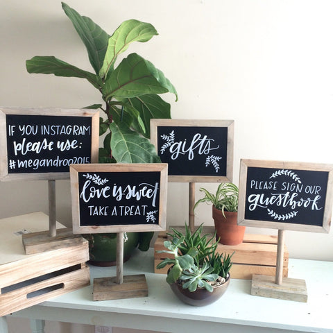Photobooth Sign, Instagram Sign, Dessert Table Sign, Chalkboard Design, Chalkboard with Stand, Handlettered Sign, Custom Wedding Signage