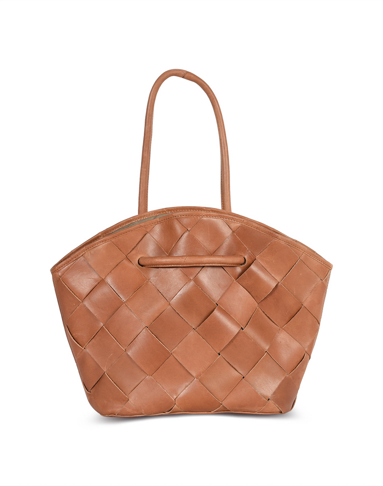 SIA best tan woven leather tote