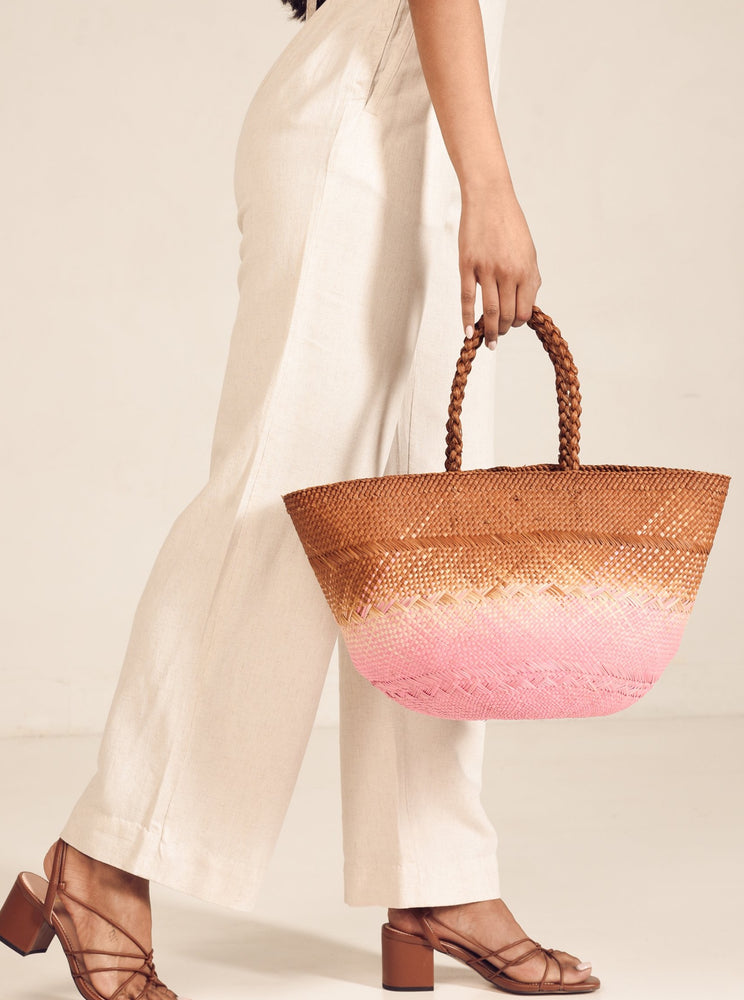 SASIPIM MAPLE brown / pink  iraca palm straw bag tote