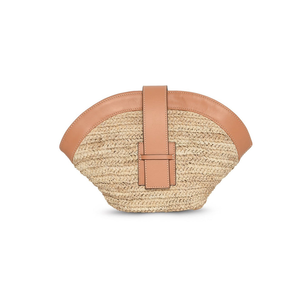 SASIPIM SADIE TAN crochet straw clutch with genuine leather
