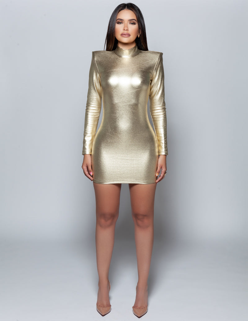Gold Structured Shoulder Mini Dress
