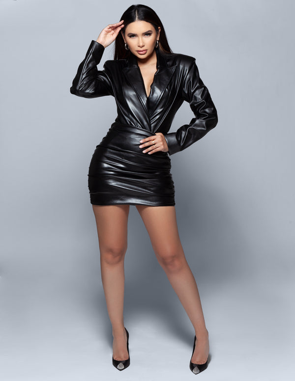 Leather Blazer Bodysuit