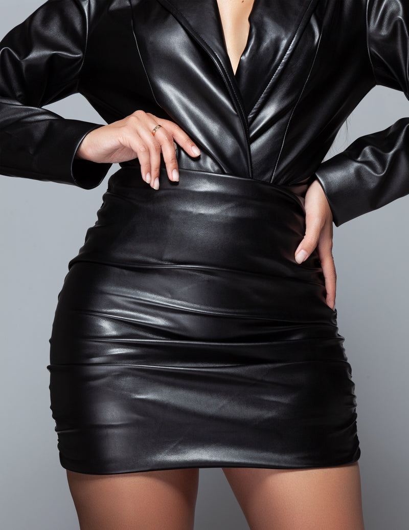 Draped Leather Mini Skirt