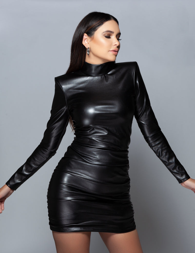 Leather Turtleneck Bodysuit