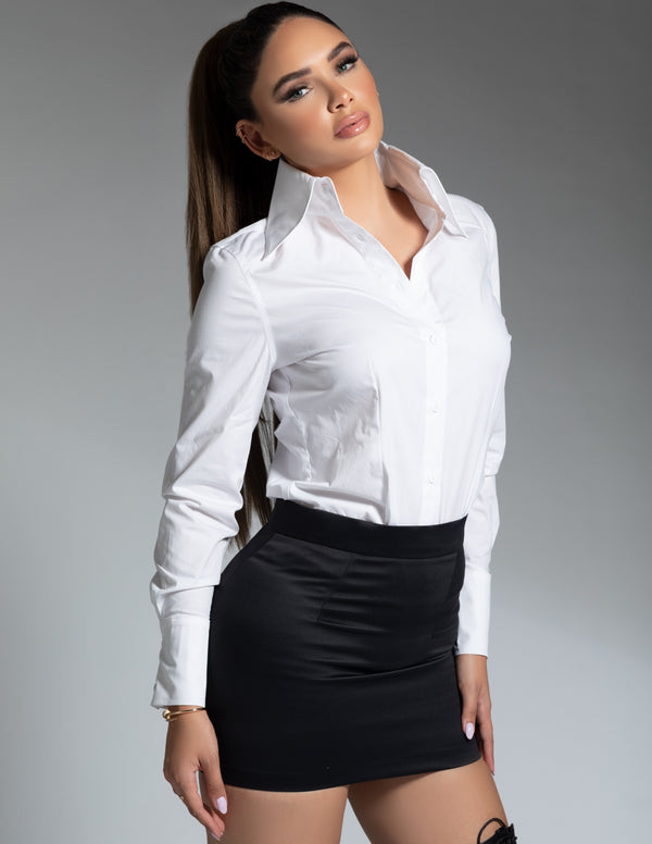 High Collar Poplin Bodysuit