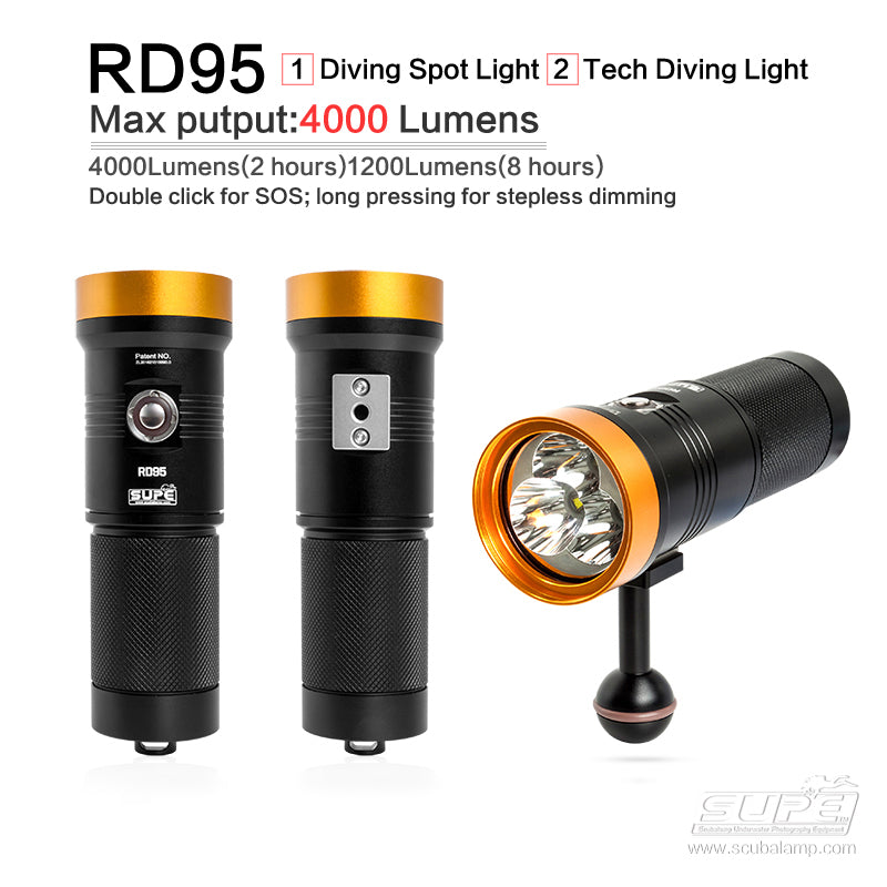RD95 (4000 Lumens) - Primary Recreational & Technical Dive Light