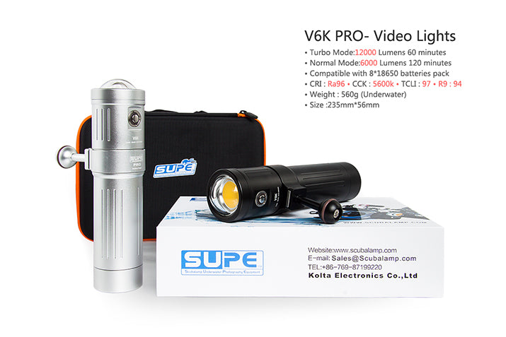 V6K PRO (12,000 lumens) - Our Favorite Professional Light w/ Extended Battery