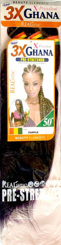 Beauty Elements Realistic X-Pression Ghana Pre-Stretched Braiding Hair 50 inches (3 Bundles)