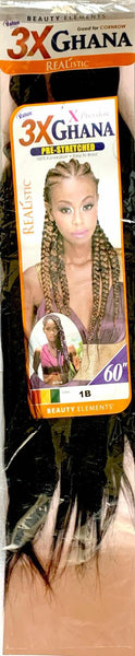 Beauty Elements Realistic X-Pression Ghana Pre-Stretched Braiding Hair 60 inches (3 Bundles)