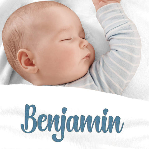 Image of Personalized Baby Blankets, Boy or Girl Custom Name Fleece Blanket Gift 3 Lines