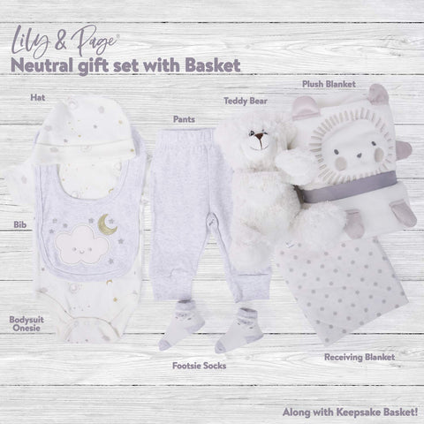 Baby Welcome Gift Basket with Teddy perfect for Registry, Baby Showers and Birthdays