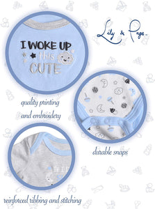 Lily and Page Onesies Baby Boy, 5-Pack Newborn Bodysuit Infant Clothes Cotton Onesie for Boys