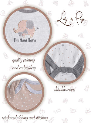 Lily and Page Gender Neutral Baby Clothes,5 Pack Boy Girl Unisex Onesies Newborn Infant Onsies