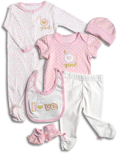 Layette Set, 6 Piece Baby Essentials for Newborn Unisex Gift Boys and Girls