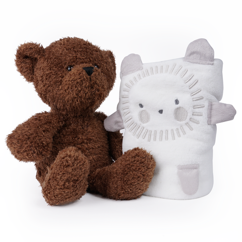 Baby Bear Blanket and Plush Neutral Gift Set
