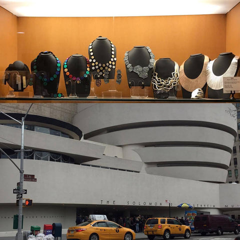 Iskin Sisters jewellery collections at the Guggenheim Museum in New York, contemporary jewelry, designer jewelry, accessories, leather necklaces