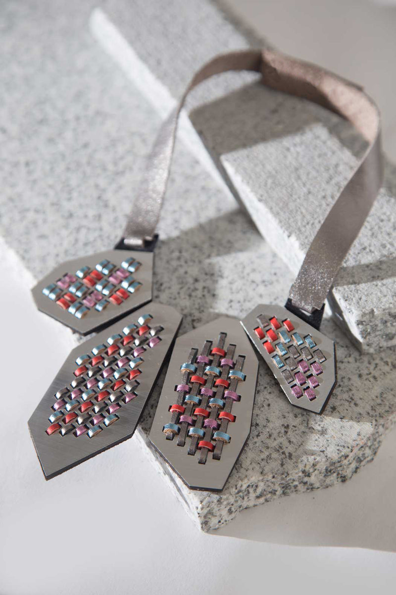 Pre-Order! Anni Necklace B - Light Blue, Pink, Red & Silver