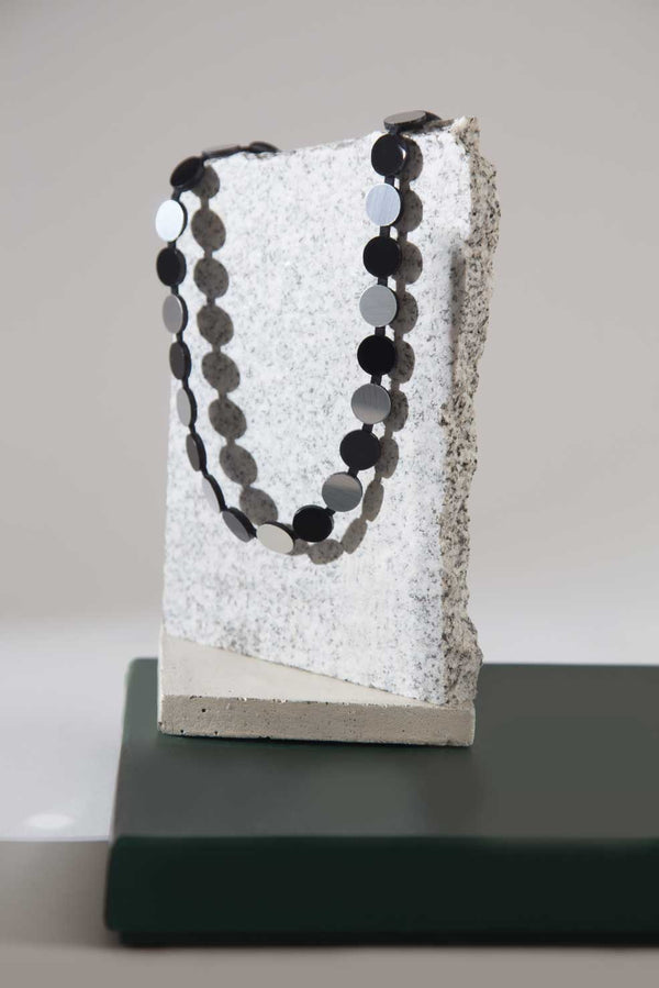 Abstraction Necklace Simple Strand - Silver & Black