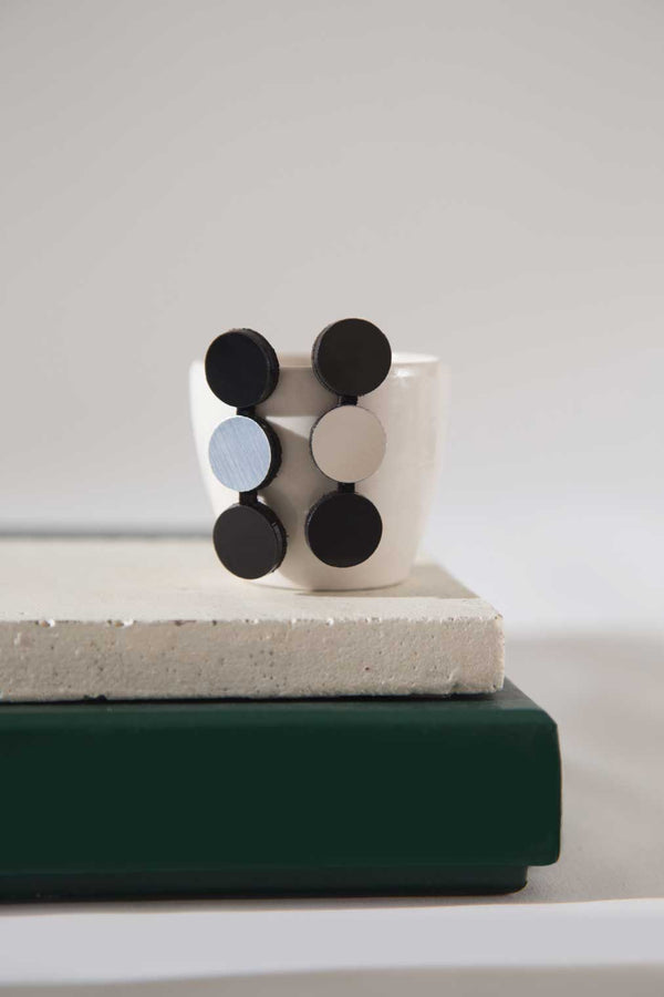 Abstraction Earrings 3 Dots - Silver & Black