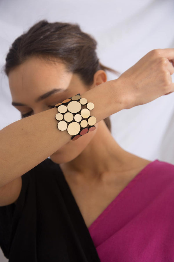 Woman wearing Abstraction Bracelet Asymmetric by Iskin Sisters