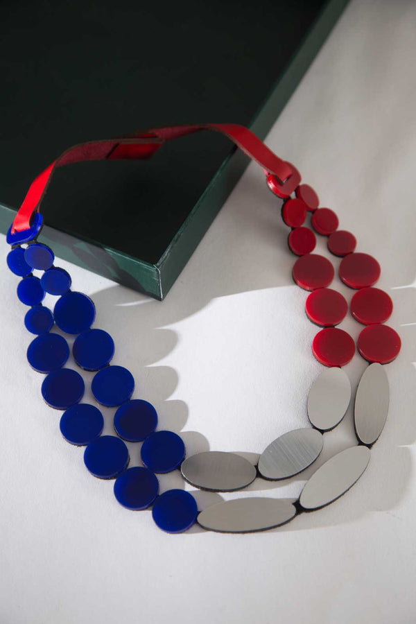 Iris Necklace - Red + Silver + Blue