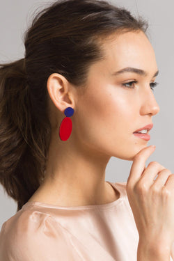 Iris Earrings - Red + Blue