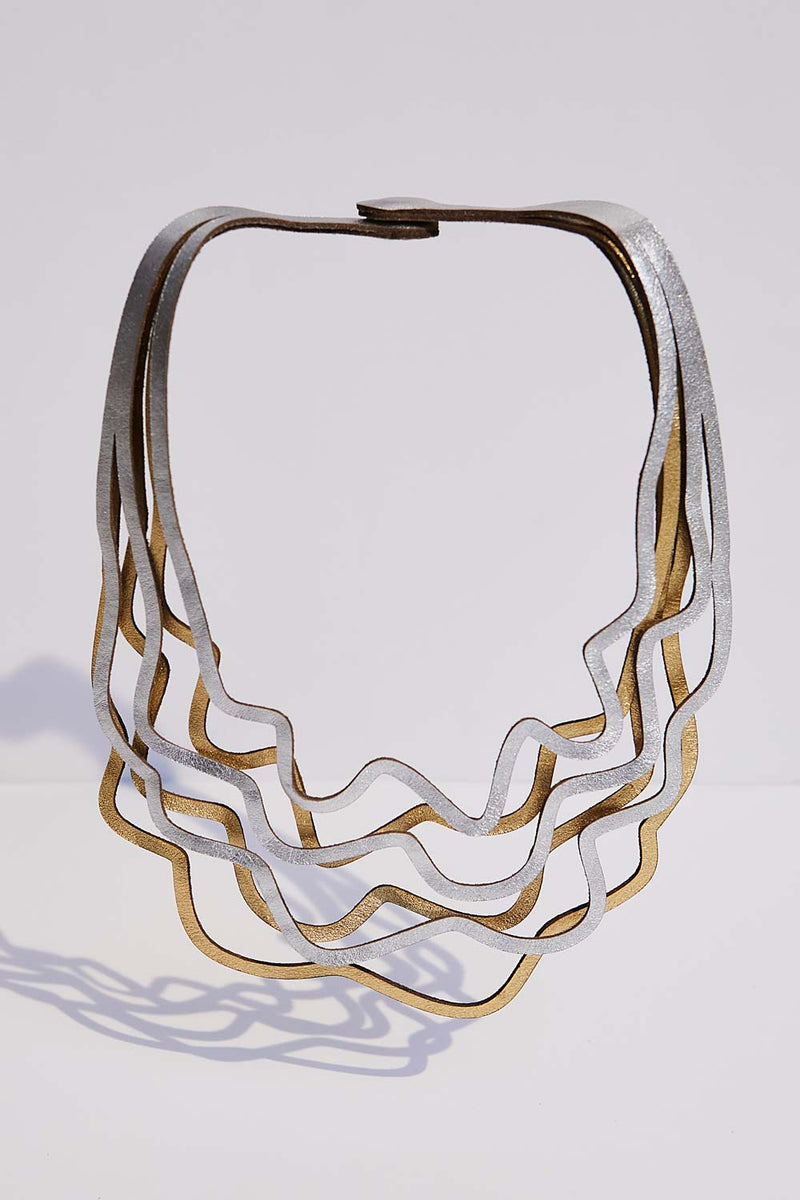 Curves Duo Necklace - Silver & Gold