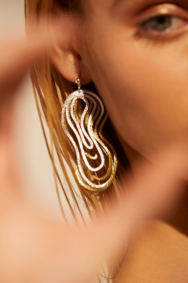 Curves Duo Earrings - Small - Silver & Gold