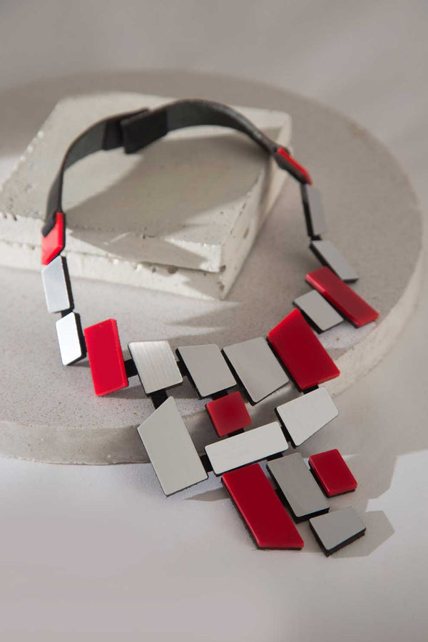 Piet V Necklace - Silver & Red