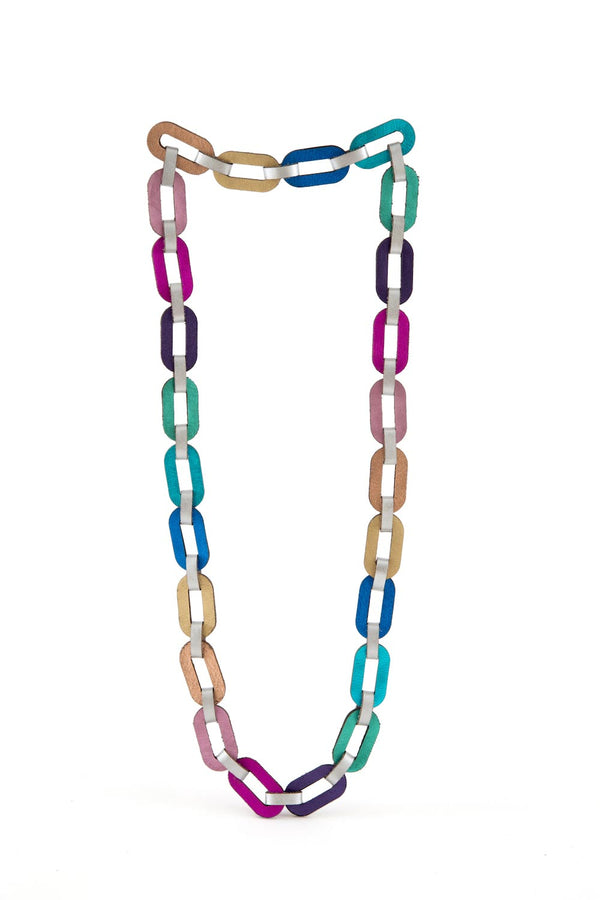 Rainbow Chain Necklace Long - Rainbow Colors