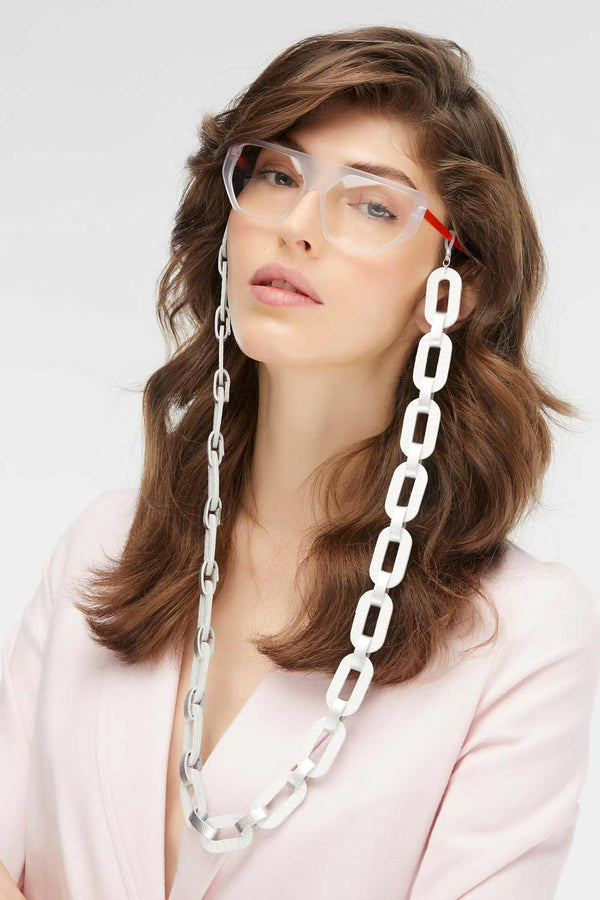 Rainbow Eyeglasses Chain - Silver & White