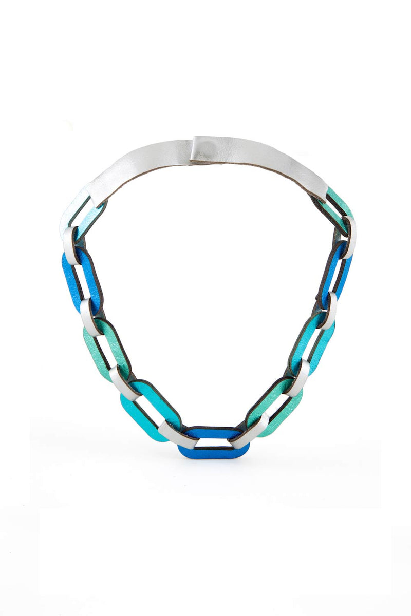 Rainbow Chain Necklace Short - Cool Colors