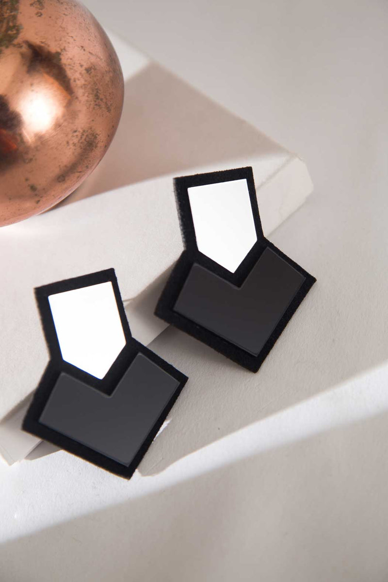 Stella Earrings - Silver & Black