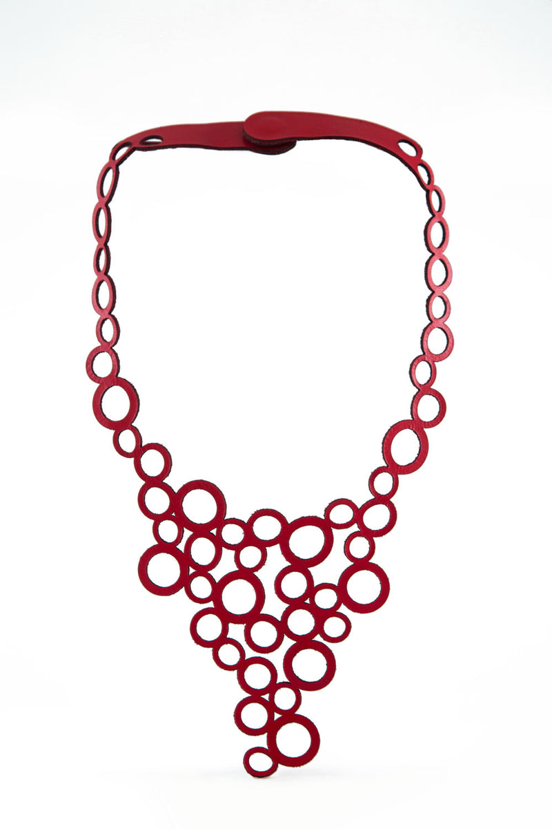 Abstraction Holes V Necklace in Leather - Sample Sale