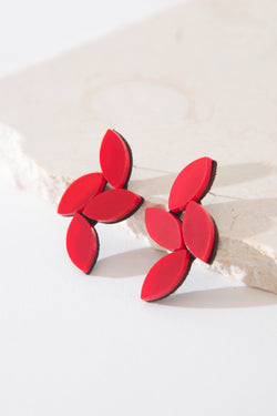 Kate Leaves Earrings Medium Red