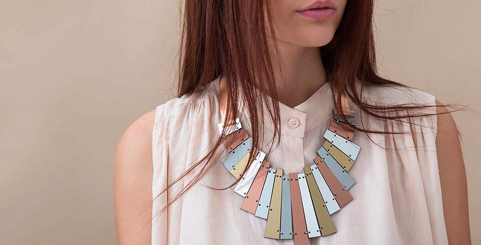Statement Necklace - Scarlett Necklace - Contemporary Jewelry by Iskin Sisters - Geometric Necklace