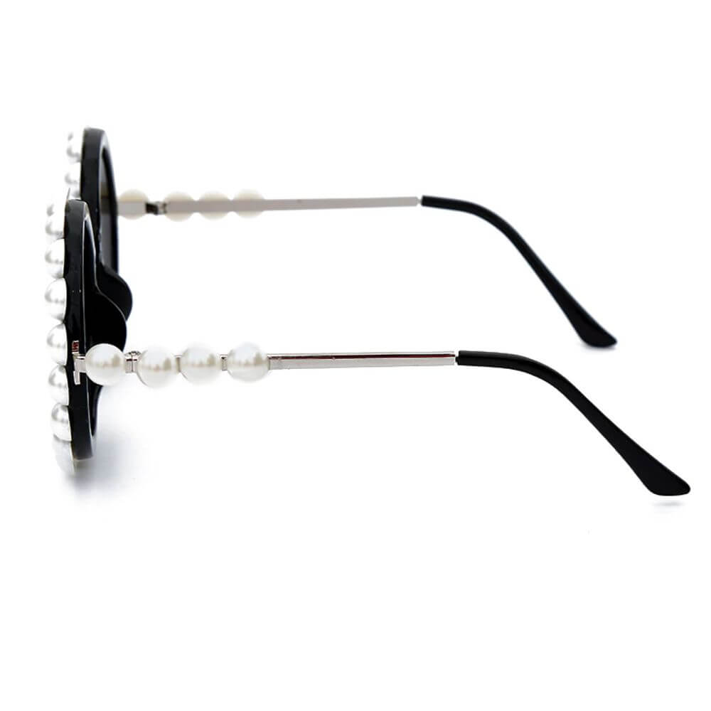 Luxury Round Retro Sunglasses with Frame & Pearl Design For Women