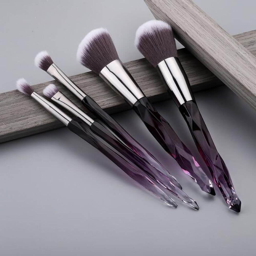 10Pcs Crystal Makeup Brushes Set with Powder, Foundation, Blush, Eye Shadow, Contour Brushes Tools